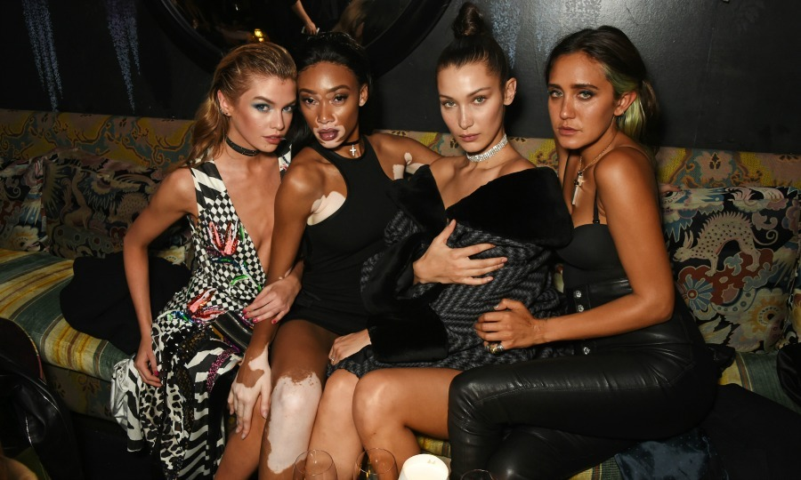Strike a pose! Stella Maxwell, Winnie Harlow, Bella Hadid and Jesse Jo Stark came together for this fierce snapshot during the LOVE Magazine and Marc Jacobs LFW Party at Loulou's. 