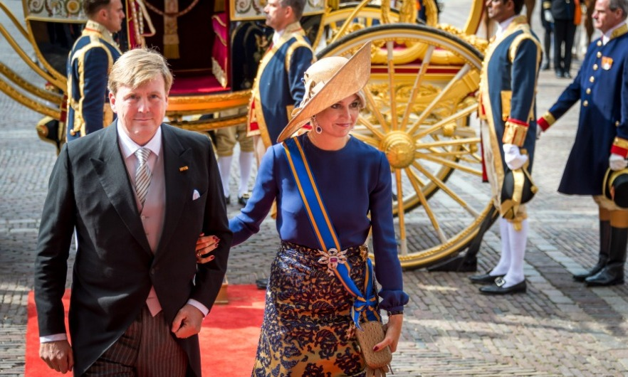 The royal pulled out all the stops with a tan wide-brimmed hat. The Queen, who was accompanied by her husband King Willem-Alexander, matched her topper with a blue and gold gown during Prinsjesdag – the state opening of parliament in the Netherlands. 