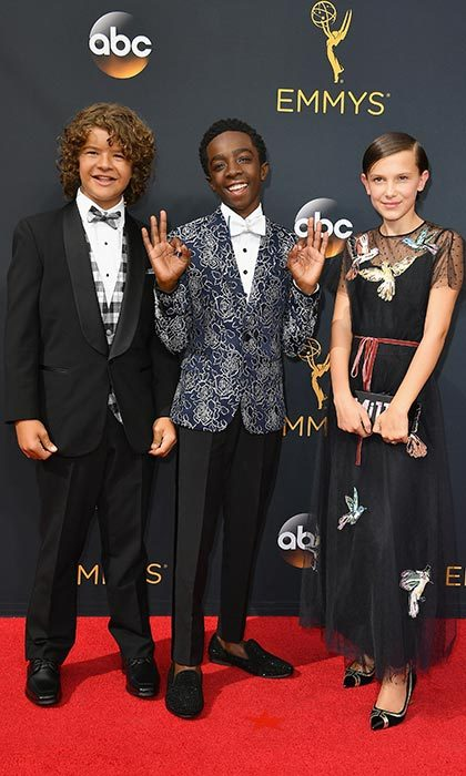 Millie stole the show with her equally stylish <I>Stranger Things</I> co-stars, Gaten Matarazzo and Caleb McLaughlin, at the 68th Annual Primetime Emmy Awards in Los Angeles. The 12-year-old wore a black Red Valentino gown with a bird motif, accessorized with a personalized clutch and chunky heels. 