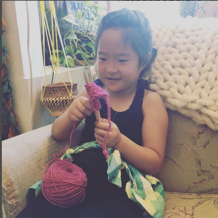 "Katherine couldn't help but share the excitement after Naleigh's first knitting lesson. ""My gorgeous girl had her first knitting lesson over the weekend and killed it! Proud mamma over here!.""