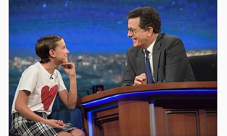 For her appearance on <I>The Late Show With Stephen Colbert</I>, Millie wore a Burberry skirt and heart t-shirt, winning the hearts of fashion fans everywhere.
