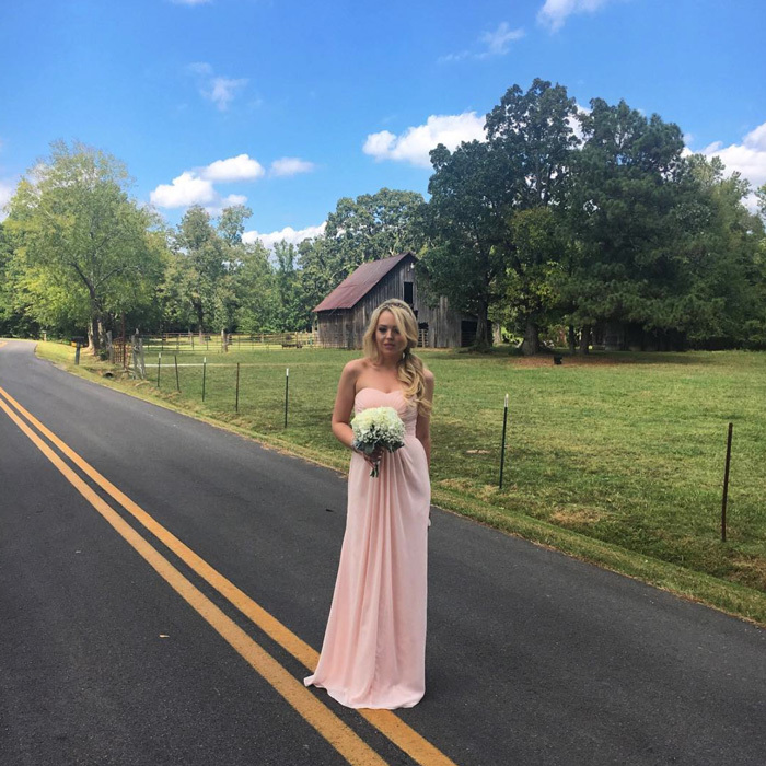 "Maid of honor crossing! <a href=""http://us.hellomagazine.com/tags/1/donald-trump"" target=""_blank"" style=""font-weight: bold;"">Donald Trump</a>'s daughter, Tiffany Trump took on an important role serving as the MOH at her maternal aunt Danielle Haynes' wedding in Georgia. Tiffany shared a photo of her feminine wedding ensemble writing, ""Saturday down South #proudmaidofhonor.""