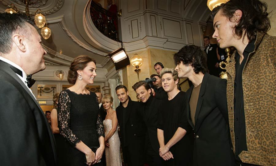 "The boys of <a href=""http://us.hellomagazine.com/tags/1/one-direction/""><strong>One Direction</strong></a> were on their best behavior to meet Kate Middleton at The Royal Variety Performance at the London Palladium in November 2014.