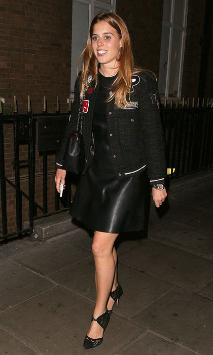 Back in black! Princess Beatrice of York looked chic stepping out to London's SoHo House wearing a leather mini dress paired with a jacket and Reiss laser cut court shoes.