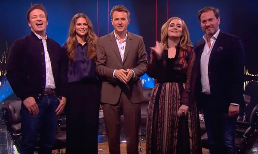 Now this is not something you see every day - Adele and Jamie Oliver saying Merry Christmas in Swedish, flanked by Princess Madeleine of Sweden and her husband Christopher O'Neill.