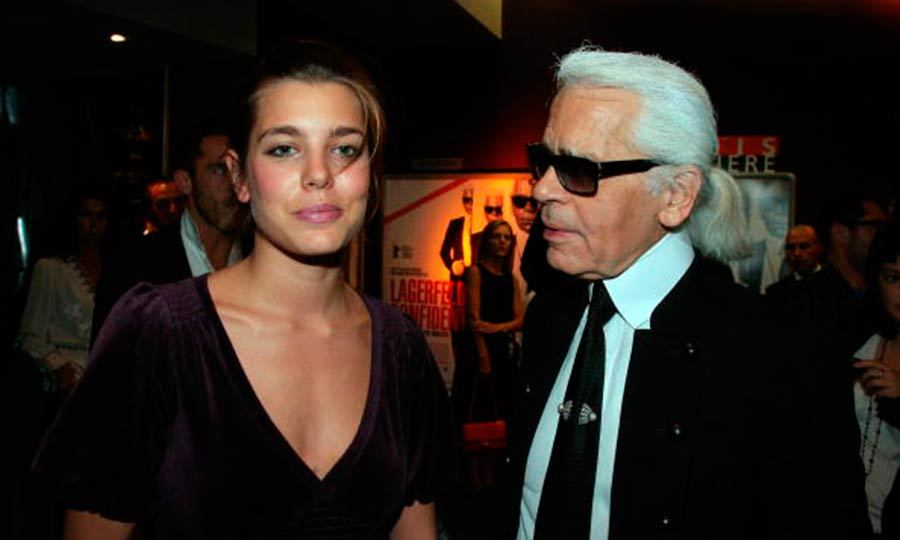 Charlotte Casiraghi arrived to the premiere of <i>Lagerfeld/i> with the man himself.