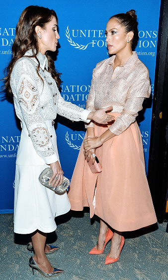 Queen Rania of Jordan and Jennifer Lopez were two brunette beauties as they attended the UN Foundation's Gender Equality Discussion at The Four Seasons Restaurant on September 25, 2015 in New York City.