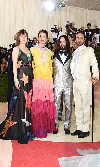 In May 2016 at the Met Ball, Princess Grace's granddaughter Charlotte Casiraghi was accompanied by Gucci's creative director Alessandro Michele, Dakota Johnson and Jared Leto, who all wore stand out pieces from the label.