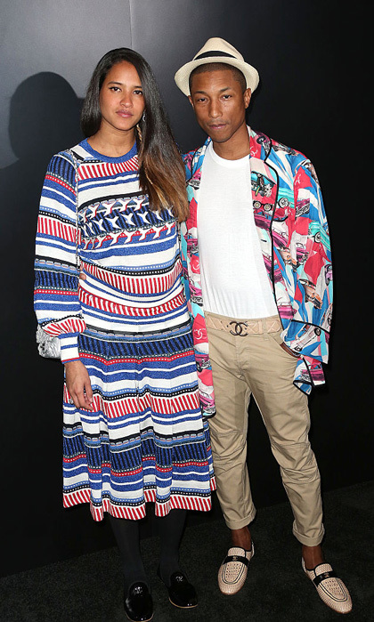 Baby makes four! Pharrell Williams and his wife Helen Lasichanh are expecting their second child together. The stylish couple revealed the happy news stepping out for Chanel's No 5 L'Eau fragrance dinner in Los Angeles. The expectant mom showed off her growing baby bump in a colorful striped dress. The singer and model, who wed in 2013, are already parents to seven-year-old son Rocket Ayer.