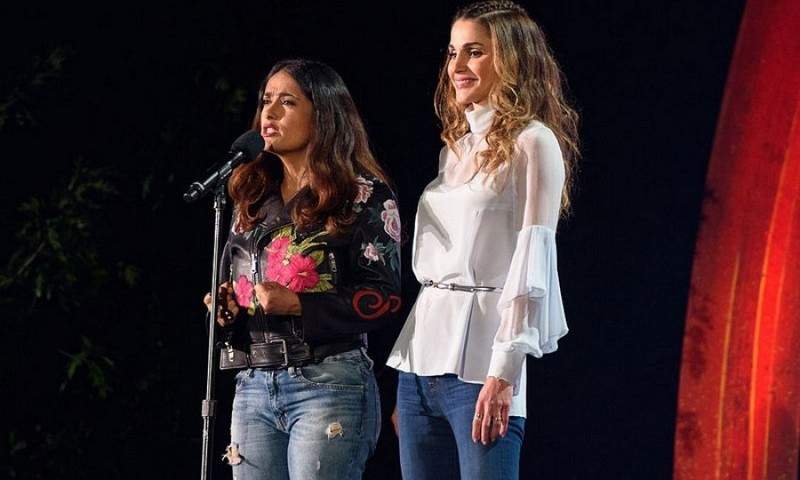 Queen Rania joined Salma Hayek on stage during the Global Citizens Festival in NYC's Central Park to discuss the movement to solve the world's biggest challenges and end extreme poverty by 2030. 