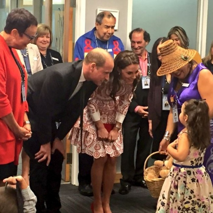 The Duke and Duchess spent close to an hour meeting with the families and children. 