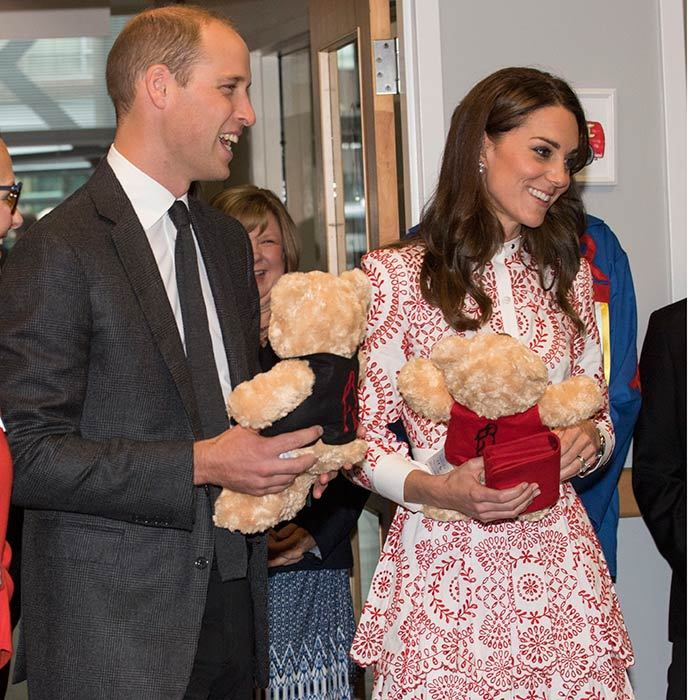 The Cambridges received a number of gifts for George and Charlotte, including these teddy bears which they were given during a visit to the Sheway charity that aids moms battling addiction and other issues.  