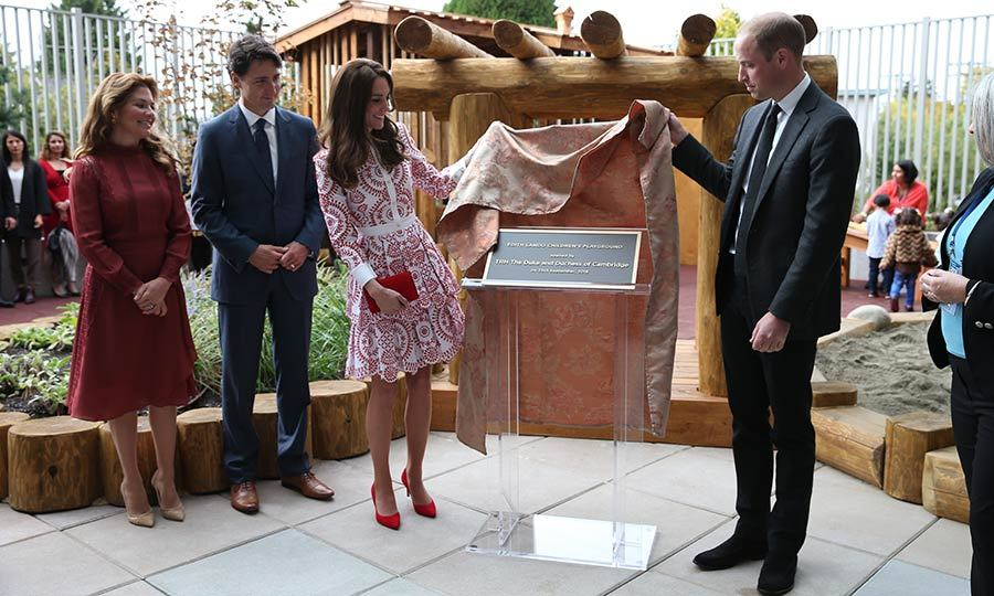 "The Trudeaus looked on as the Cambridges unveiled a plaque to open the new play area at the Immigrant Services Society of British Columbia New Welcome Centre. After, Justin told the couple, ""We'll see you later.""