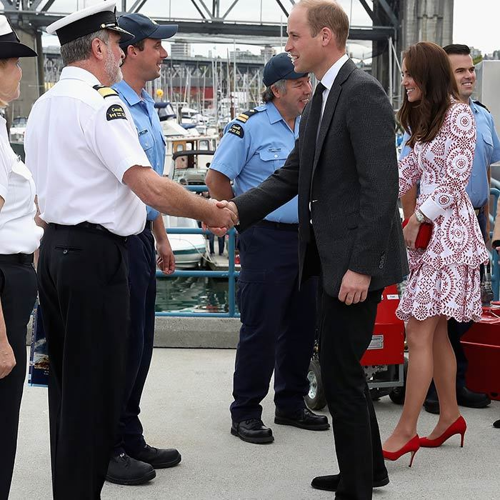 The Duke and Duchess were greeted warmly as they visited with the Canadian Coast Guard and Vancouver First Responders.