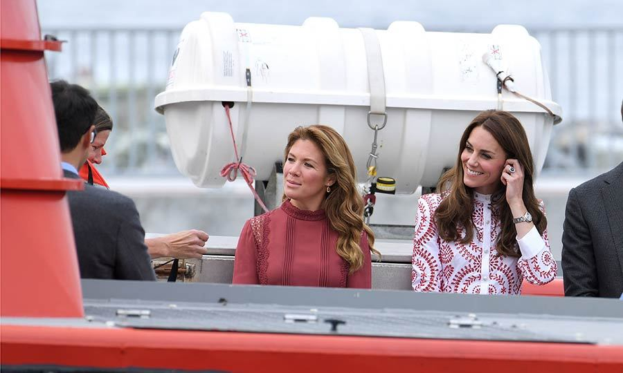 First lady Sophie Gregoire Trudeau and the Duchess of Cambridge looked stylish at sea.
