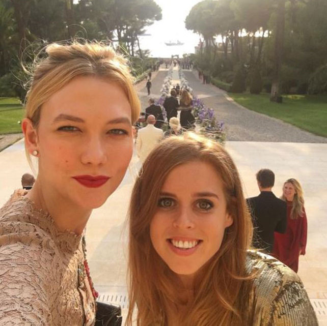 "After hanging at the US Open together, Karlie Kloss and Princess Beatrice enjoyed their friends' wedding together. Karlie posted this photo on Instagram with the caption: ""My wedding date."" The wedding of art collector and dealer Alberto ""Tico"" Mugrabi and Colby Jordan took place at the famous Hôtel du Cap-Eden-Roc in Antibes, France.