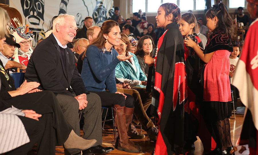 Kate chatted with children of the Heiltsuk First Nation that welcomed the royal couple with a performance.