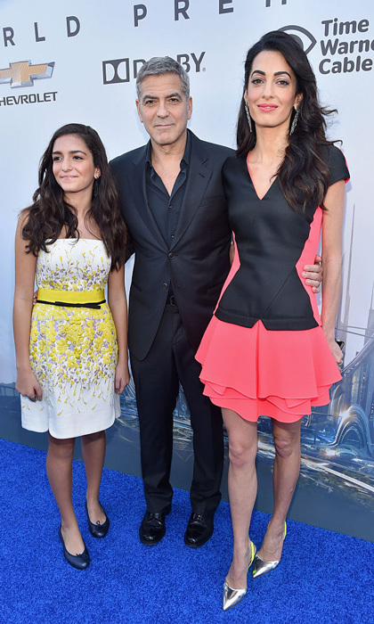The couple made the Anaheim, California premiere of <i>Tomorrowland</i> a family affair stepping out with Amal's niece, Mia Alamuddin.