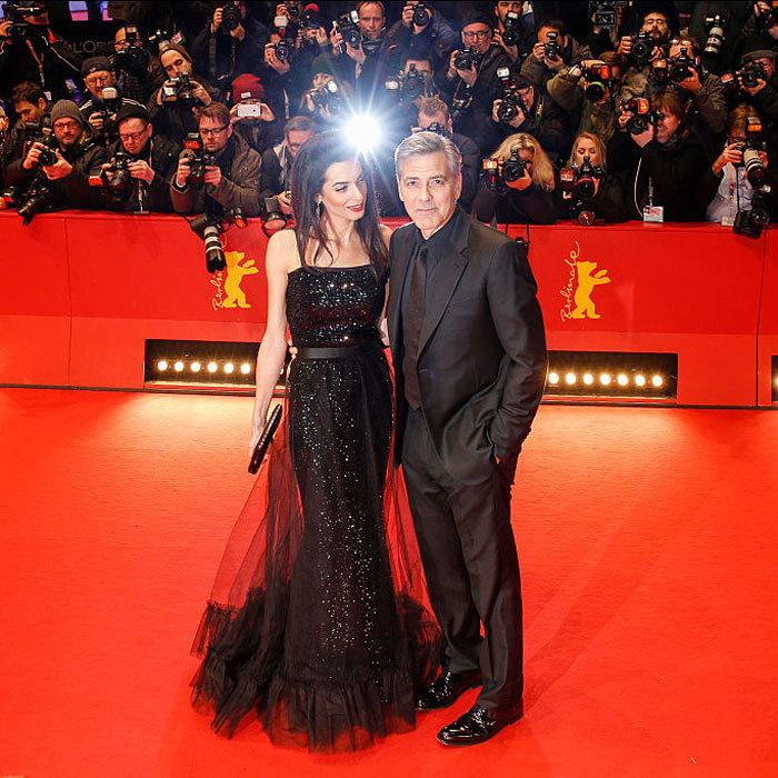 The human rights attorney dazzled in a black gown as she proudly looked on at her husband at the 2016 Berlinale International Film Festival.