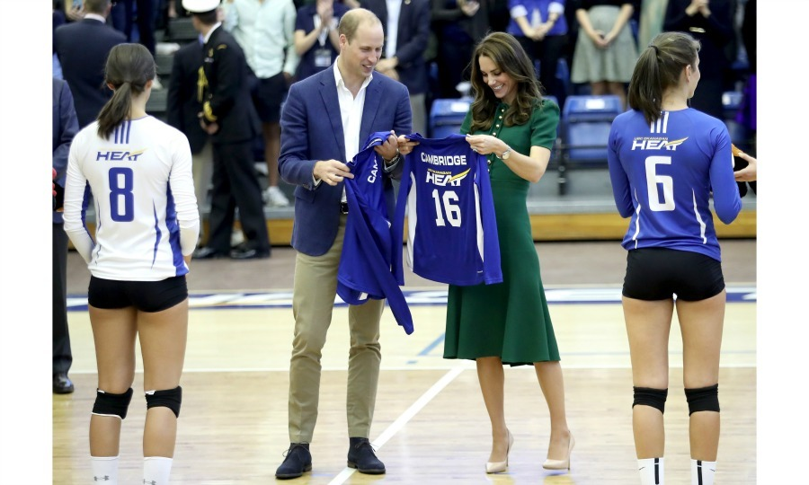 William and Kate were presented with jerseys by the university's nationally ranked women's volleyball team. 