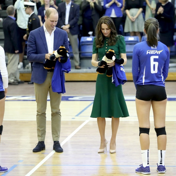 Not only were William and Kate presented with jerseys, the royal pair were given two teddy bears during the sporting event. 