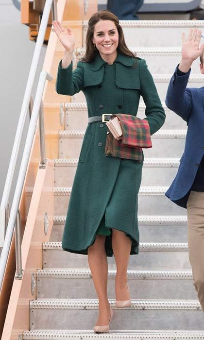 The Duchess of Cambridge wore the perfect fall shade of green for the second time during the day when she donned a Hobbs 'Persephone' coat along with her favorite nude heels.