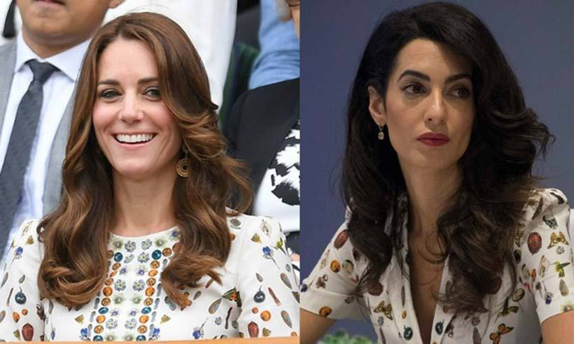 "Kate and <b>Amal Clooney</b> not only have beauty and brains in common, but also a similar taste in style. The human rights attorney stepped out to the United Nations in 2016 wearing an Alexander McQueen dress featuring the label's ""Obsession Multi Print."" Kate wore the same floral and butterfly pattern in a different dress style earlier in the year during the Wimbledon Men's Finals. 