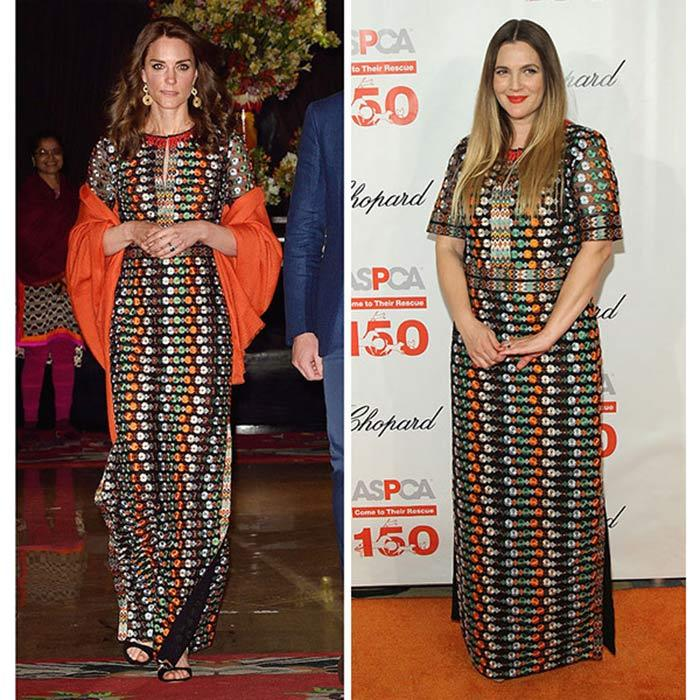 "For the Duchess' private engagement with the Bhutanese royals in 2016, she wore a $1,495 Tory Burch floral mesh gown featuring retro-inspired flowers and side slits. Hours after Kate stunned in the gown, <b>Drew Barrymore</b> stepped out in New York City wearing the same embellished frock to the ASPCA Bergh Ball. Designer Tory acknowledged the coincidence was funny, telling <b>HELLO!</b>, ""I had no idea!""