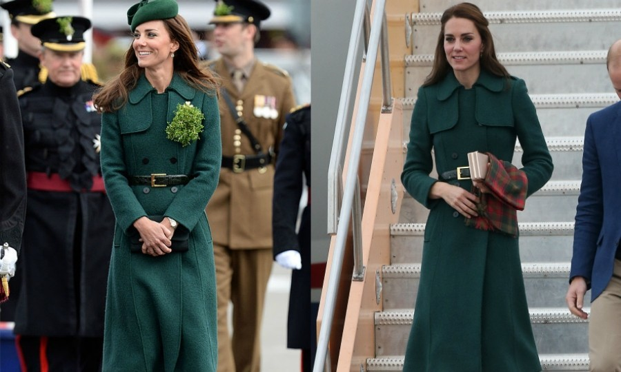 It's no surprise that Kate has a thing for green. For the chillier temperatures arriving into Whitehorse, Yukon, she covered her green Dolce & Gabbana dress with one of her favorite coats from Hobbs. The Duchess also wore this during the 2014 St Patrick's Day celebration.
