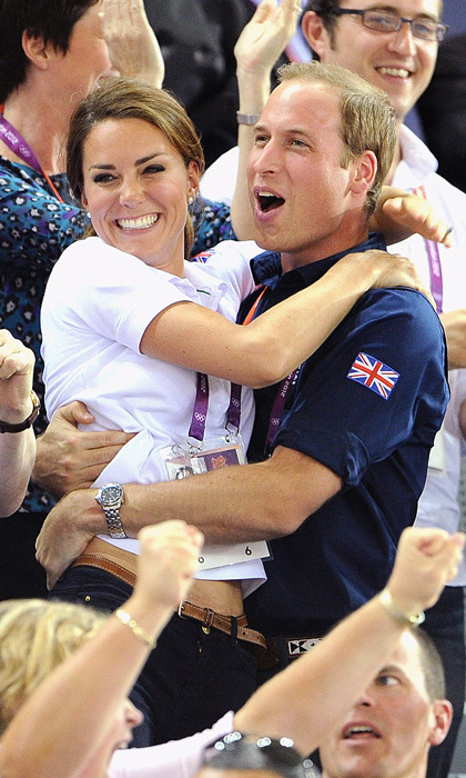 The Duke could not contain his excitement at the London 2012 Summer Games as he celebrated a win hugging his wife in the stands. 