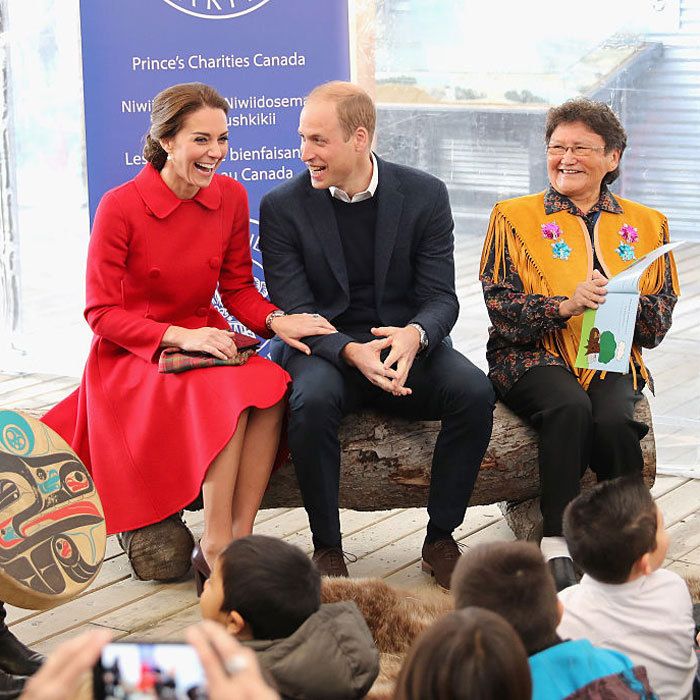 The Duchess and Duke of Cambridge shared a laugh, while listening to a storytelling session with local children at the MacBride Museum in Whitehorse, Canada.
