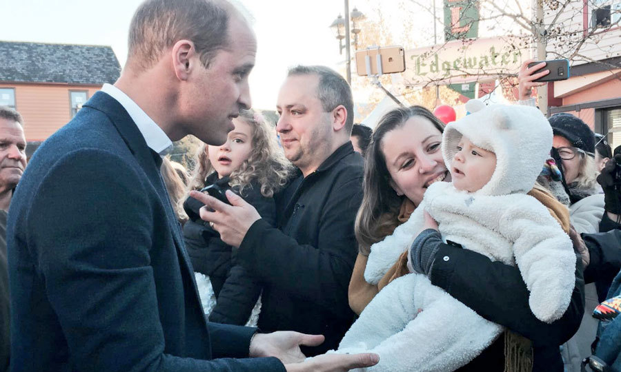 "The royals were greeted outside the museum by Yukoners at a street party in Whitehorse. There, William met an adorable five-month-old named Leo dressed in a cozy onesie. The dad-of-two told the warmly-dressed baby, ""That is definitely the best way to be dressed today!""