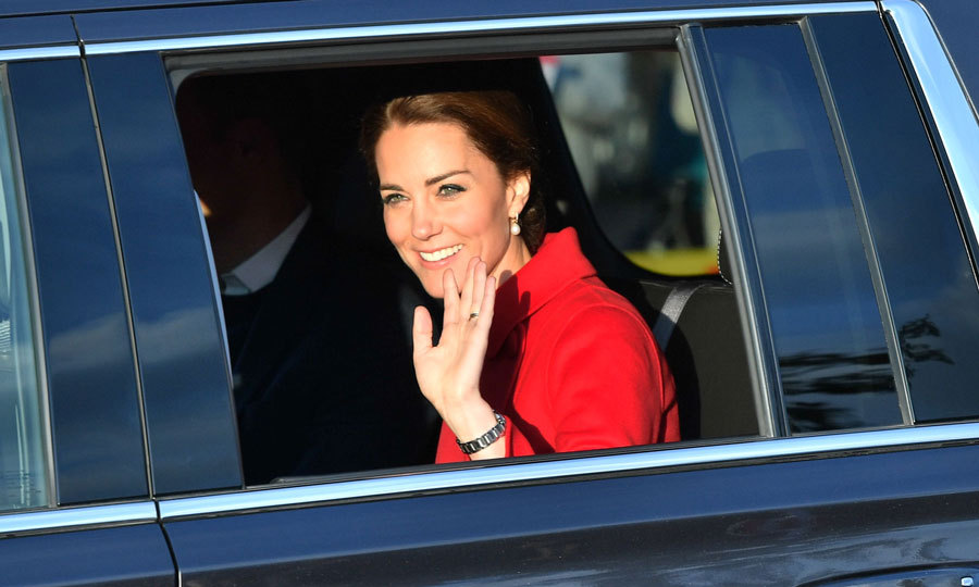 Prince George's mom waved from her car as she arrived with William to the MacBride Museum of Yukon History.