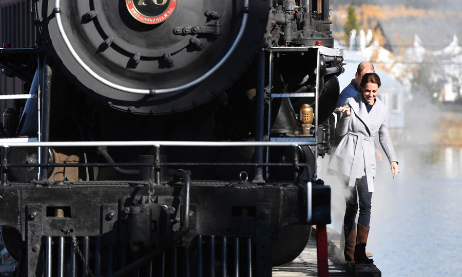 All aboard! Kate and Will walked beside a steam train in Carcross.