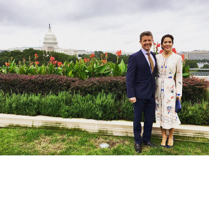 From the palace to Capitol Hill! Crown Prince Frederik and Crown Princess Mary of Denmark traveled to Washington, D.C. on business. The smartly-dressed royal couple posed for a scenic photo in front of the United States Capitol.