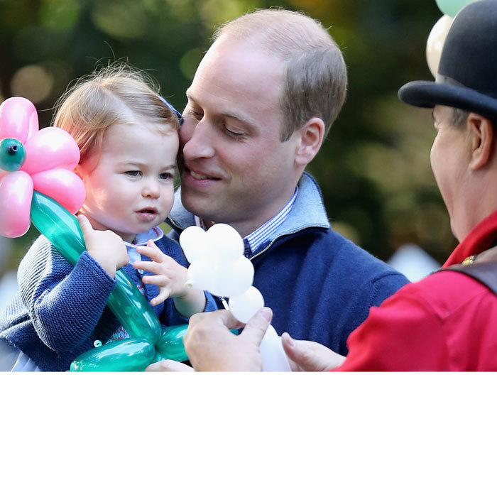 "William looked smitten by his little girl. Charlotte called out to her father, ""Dada,"" during the party. The Duke asked his daughter, ""Would you like a balloon, Charlotte?""