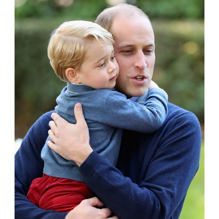 Prince George's love for his father was on full display during the Cambridge family's royal tour of Canada in 2016. The father-son duo shared a tender hug, while at Princess Charlotte's first royal engagement.