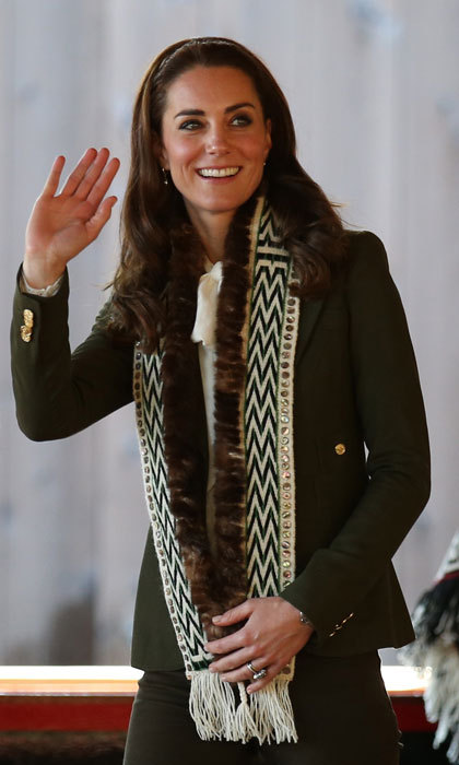 Kate looked effortlessly stylish wearing a mixture of British and Canadian labels. The Duchess paired her Canadian brand Smythe blazer with an ivory blouse from Somerset by Temperley and Zara skinny jeans.