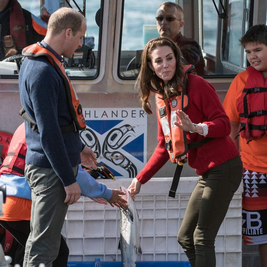 The royals also did some fishing on the <I>Highland Ranger </I> as it sailed on the Hectate Strait.