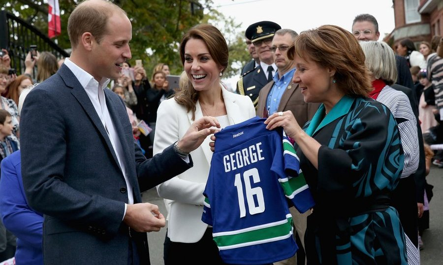 BC Governor Christy Clark presented the Cambridges with personalized Vancouver Canucks jerseys for Prince George and Princess Charlotte. 