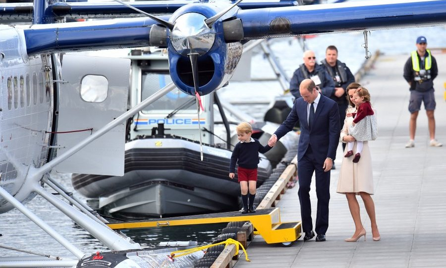 Prince William helped his son board the seaplane as Kate and Princess Charlotte looked on.