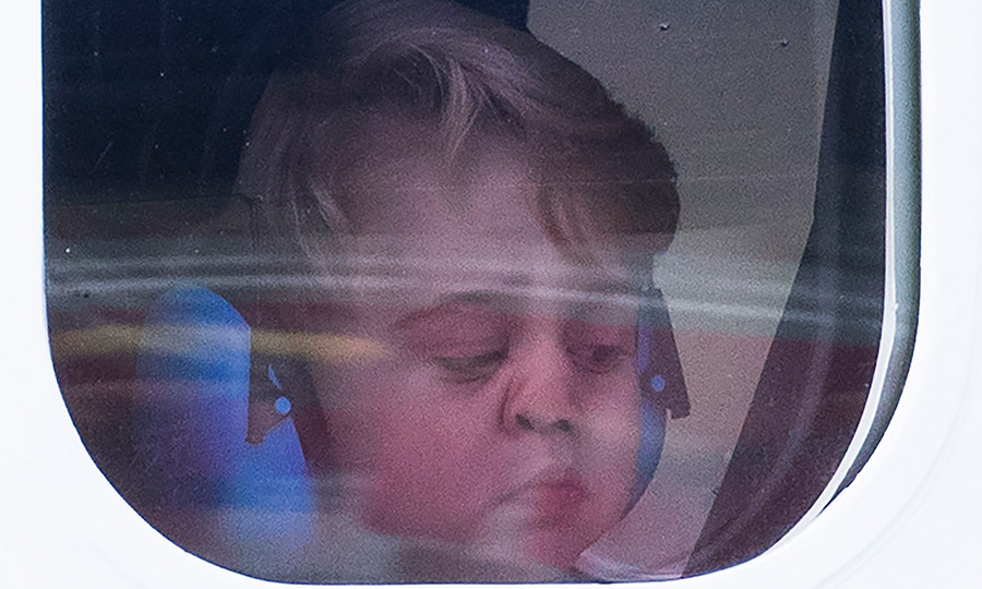 "<a href=""http://us.hellomagazine.com/tags/1/prince-george/""><strong>Prince George</strong></a> had some pre flight blues on his way home after a ceremony marking the departure of the royal family after their Canada tour. 