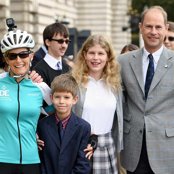 Sophie Wessex was greeted by her family – Prince Edward and their children Lady Louise Windsor and James, Viscount Severn – as she arrived at Buckingham Palace after completing her charity bike ride from Edinburgh to London in support of The Duke of Edinburgh's Award.