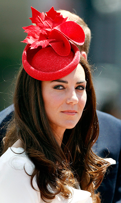 A pop of color goes a long way. The Duchess of Cambridge opted for a red hat featuring maple leaves by Sylvia Fletcher for Lock & Co during a July 2011 visit to Canada.