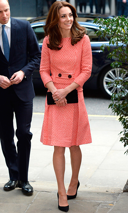 Kate went graphic in a red and white tweed top and matching A-line skirt from Eponine London's spring/summer 2016 collection, along with black heels and a clutch.