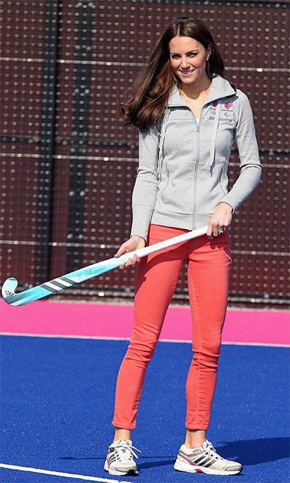 The Duchess of Cambridge rocked skinny jeans by Zara to play hockey with Great Britain's team at the Riverside Arena in London's Olympic Park. 