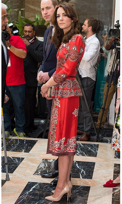 The Duchess of Cambridge opted for another Alexander McQueen ensemble, this time with nude heels and clutch, during her royal tour to India and Bhutan with Prince William in April 2016.