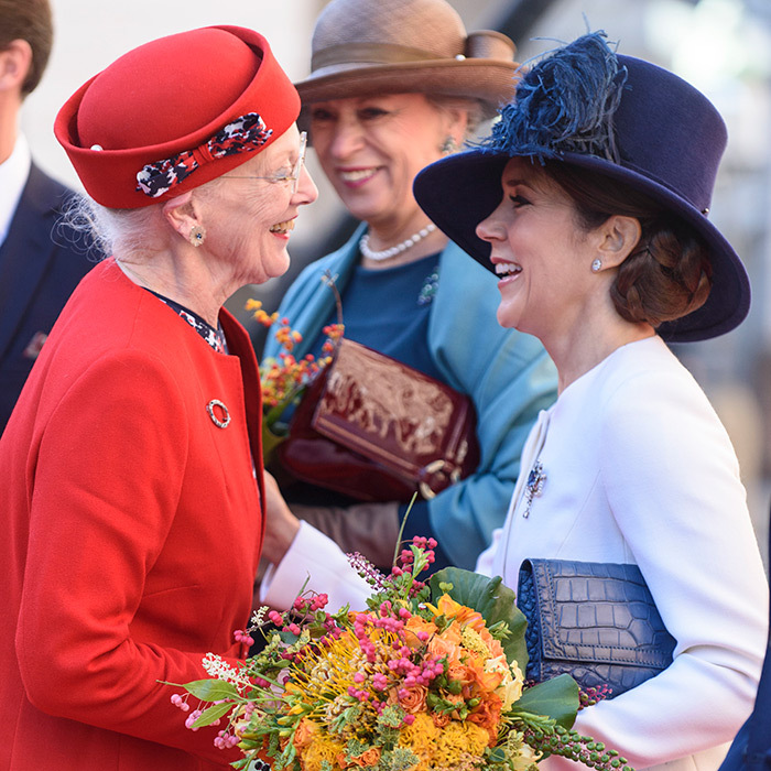 Crown Princess Mary of Denmark curtsied as she greeted mother-in-law Queen Margrethe at the opening of the Parliament at Christiansborg Palace.