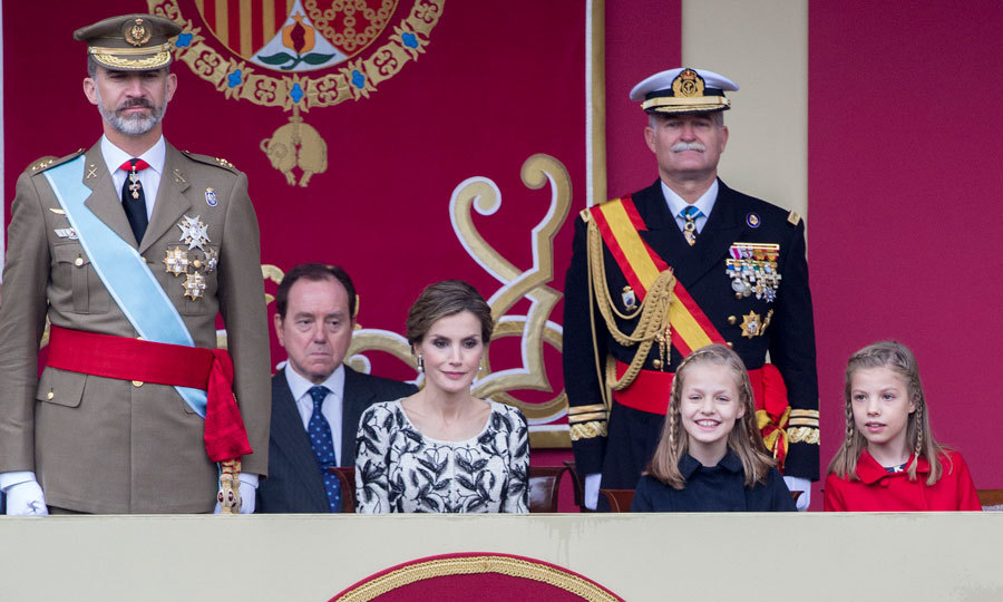 A royal family affair! King Felipe and Queen Letizia along with their daughters (Princess Leonor and Princess Sofia) attended a military parade in Madrid for Spain's National Day on October 12.