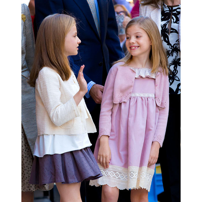 Leonor and Sofia were dressed in the Sunday best attending Easter Mass at the Cathedral of Palma de Mallorca. 